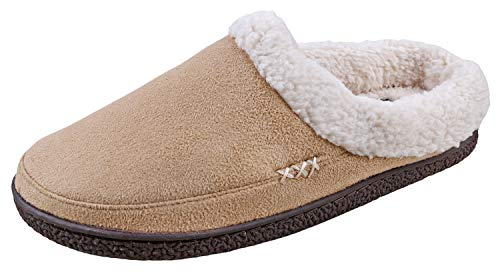 (Urban Fox Everson Suede Mens Slippers I Micro-Suede I Velveteen I Rubber-Sole I Memory Foam I Comfortable House Slippers I Slippers for Men I Slip-On Slippers for Men I Tan/Tan - US 10)