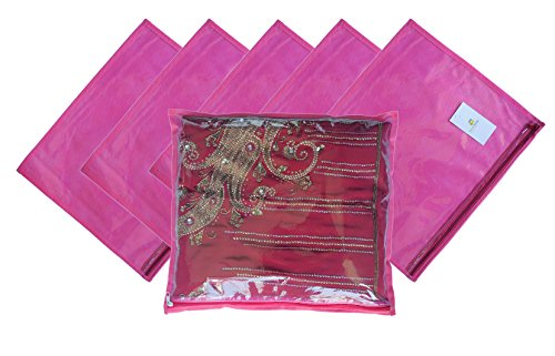 Homestrap Single Saree Cover with Transparent Top – Pink – Set of 6