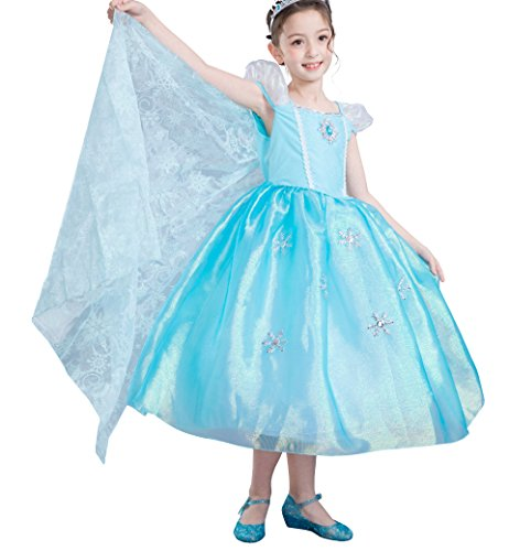 Dressy Daisy Girls Princess Elsa Costumes Frozen Dress with Train Halloween Party Costume Size 3T / 4T -