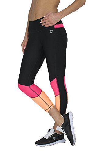 RBX Active womens Color Block Capri,Black / Hot Pink Combo,X-Large (Mustache Pantyhose)