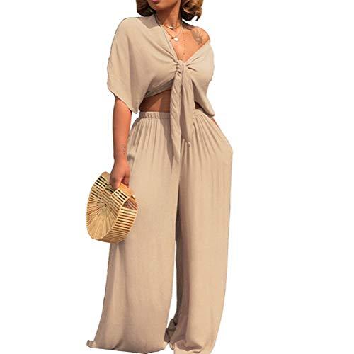 AEL Womens Sexy Tie Crop Top Wide Leg Long Pants 2 Piece Outfits Summer Short Sleeve Jumpsuits Set(Apricot,L) - Tie Crop Pants