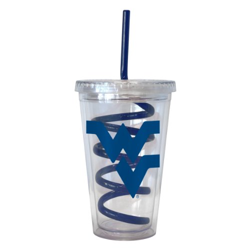 Boelter Brands NCAA West Virginia Mountaineers 16-ounce Tumbler with Swirl Straw
