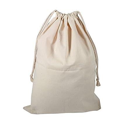 Pack de 6 Sacs de Cordon de Coton, Sac Plat de Stuff de Sac de blanchisserie de Stockage de Cordon de Coton de ménage pour l'usage à la Maison de Voyage(10 * 12cm)