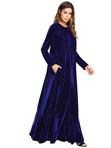136140c10658 MAKEMECHIC Women's Elegant Long Sleeve Velvet Loose Maxi Dress - Buy ...