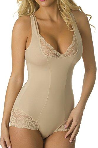 Velvet Kitten Lacey Accent Body Shaper Bodysuit #303538 (XL, Nude)