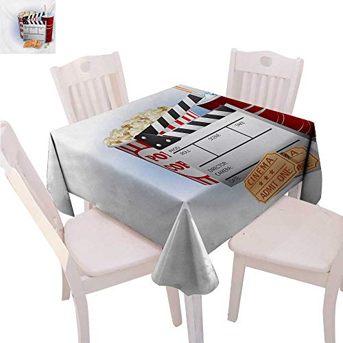 Movie Theater Dinning Tabletop DecorSoda Tickets Fresh Popcorn and Clapper Board Blockbuster Premiere Cinema Table Cover for Kitchen 70