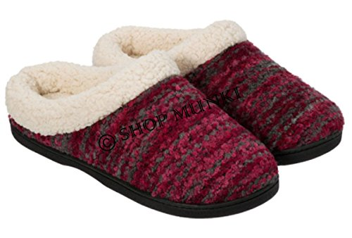 Dearfoams Womens Memory Foam Boucle Knit Clog Slipper (Medium (7-8), Cabernet Multi)