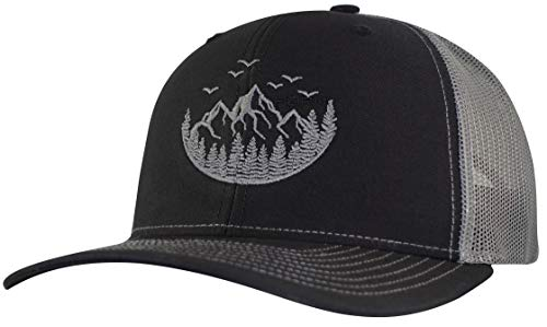 def8ecc9 Horn Gear Trucker Hat - Outdoor Series Caps - Mountain Edition Hats  (Black/Charcoal)