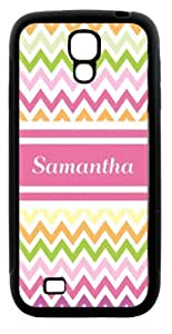 "Rikki KnightTM ""Samantha\"" Pink Chevron Name Design Samsung\xae Galaxy S4 Case Cover (Black Hard Rubber TPU with Bumper Protection) for Samsung Galaxy S4"