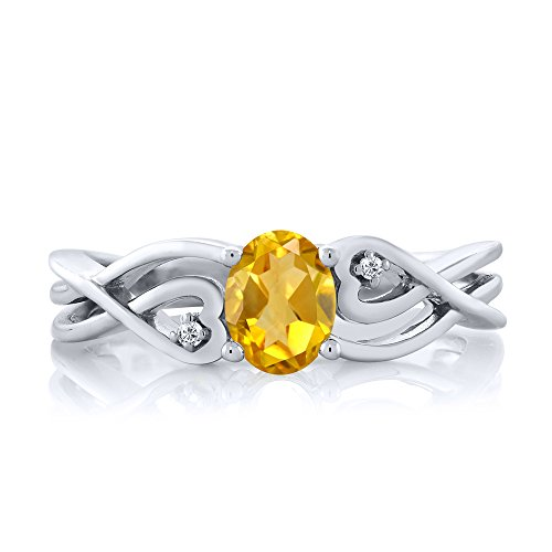 Gem Stone King 925 Sterling Silver Yellow Citrine White Diamond Women s Ring 0.41 cttw Available 5,6,7,8,9