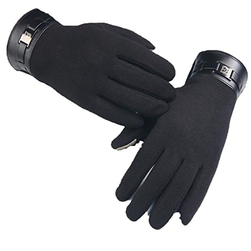Gloves, Hatop Winter Mens Full Finger Smartphone Touch Screen Cashmere Gloves Mittens (Black)