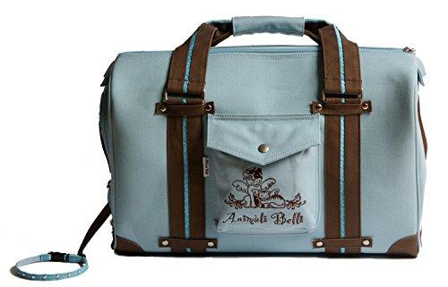 Tutta Bella Eco-Friendly, 100% Organic Cotton Canvas Pet Carrier (Cool Blue/Chocolate)