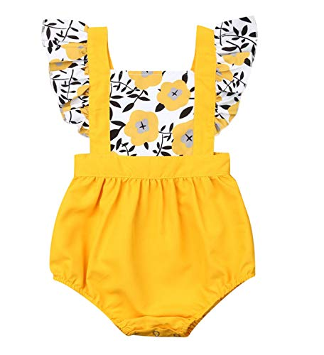 Baby Girl Summer Clothes Lace Boho Romper Ruffle Backless Button Jumpsuit Solid Bubble Clothing (01 Sunflower, 6months)