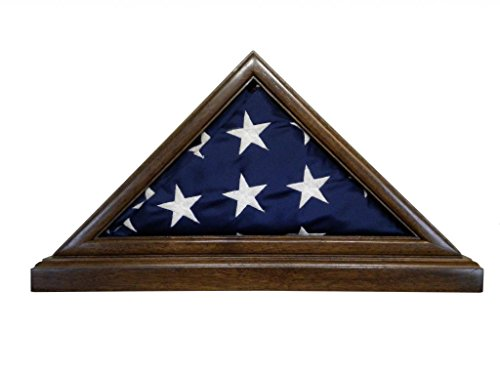 Solid Walnut Flag Case & BASE for 3 x 5' Nylon Military Missions/Capital size Flag, USA Made ()