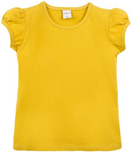 Lovetti Girls' Basic Short Puff Sleeve Round Neck T-Shirt 8 Mustard (Shirt Mustard Girl)