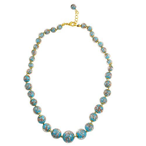 (Just Give Me Jewels Genuine Venice Graduated Murano Sommerso Aventurina Glass Bead Strand Necklace in Turquoise, 19+2