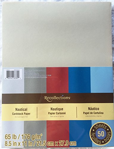 Recollections Nautical Cardstock Scrapbooking Paper Pack of 50