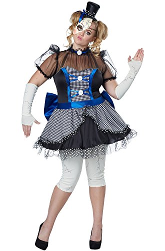 [Blue Plus Size Broken Doll Costume For Women - 1X] (Broken Doll Costume For Adults)