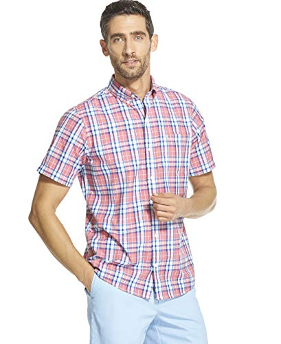 (IZOD Men's Breeze Short Sleeve Button Down Plaid Shirt, Rapture Rose, Large)