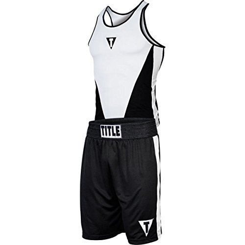 Title Boxing Aerovent Elite Amateur Boxing Set 3, Black/White, Medium (Jersey Title Boxing Racerback)