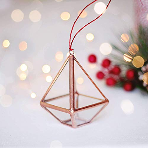 Waen Christmas Ornaments Collection Geometric Glass Ornament Set of 5 (Copper, Silver, Black)