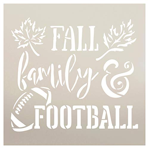 Fall Family and Football Stencil by StudioR12 | Wood Signs | Word Art Reusable | Mancave Sports Room | Painting Chalk Mixed Media Multi-Media | DIY Home - Choose Size (9
