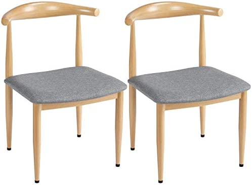 Yaheetech 2pcs Dining Chairs Mid Century Modern Style Fabric Leather Seat Metal Legs Armle