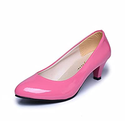 kaifongfu Heels Shoes,Nude Shallow Mouth Shoes Women Office Work Heels Shoes Elegant Ladies Low Heel Shoes