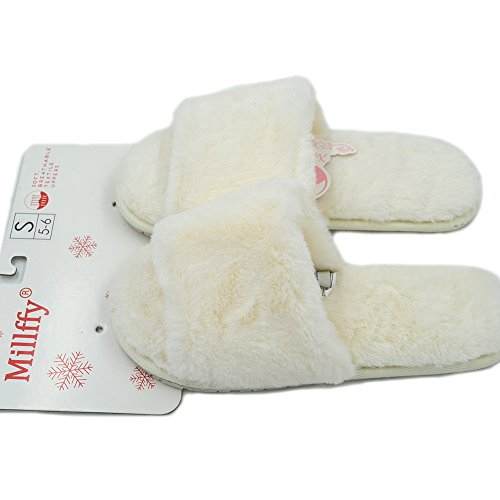 Rabbit Open Slippers Fluffy Fur Ladies Soft Faux Millffy Slippers Slippers Beige Cute Classic Toed Fur Wool 40qxwz7
