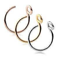 "Ruifan 316L Surgical Steel Tribal Fake Faux Clip On Earrings Nose Hoop Ring Body Jewelry Piercing Unisex 20 Gauge 5/16""(8mm) 1-3PCS"