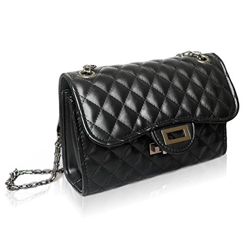 Purse Women Black With Crossbody Shoulder small Chain Metal Quilted for Bag Solarfun Classic Strap XF7qwn0