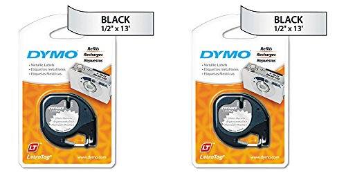 DYMO LetraTag Self-Adhesive Multi-Purpose Label Tape, 1/2-inch, 13-foot Cassette, Black Print on Metallic Silver (1743603), 2 Packs