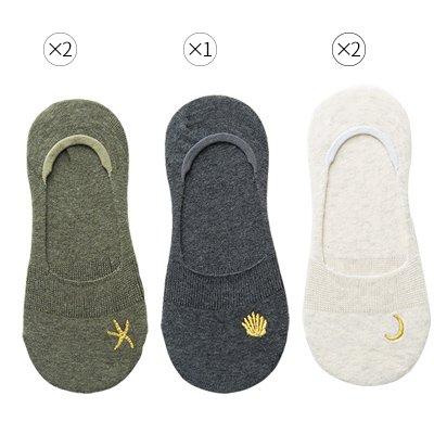 Maivasyy 5 paires de chaussettes femme chaussettes en coton d'été Voile Femme Silicone Anti-dérapant Stealth demi-chaussettes, vert militaire 2+ 1+ Gris Foncé blanc laiteux 2