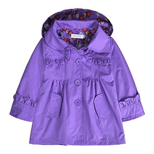(Arshiner Girl Kid Flower Waterproof Hooded Coat Jacket Outwear Raincoat Hoodies Purple,120(Age for 4-5Y))