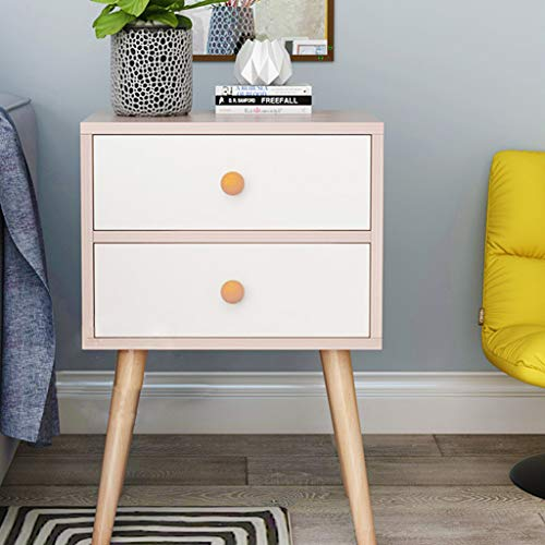 XBKPLO Mid-Century Side Table 2-Drawer, Wood, Nightstand Side Table End Table Bedside Table