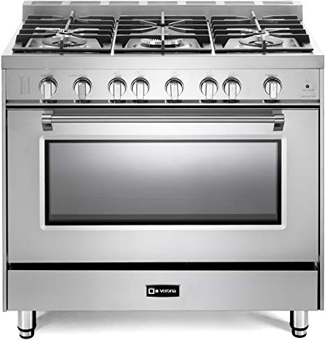 Verona Prestige Series VPFSGG365SS 36 inch All Gas Range Oven 5 Sealed Burners Stainless Steel Storage Drawer Turbo Convection 36in Electronic Ignition Gas Range