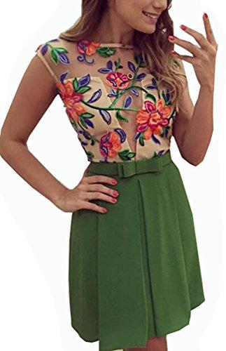 Damen Abendkleid Kleider Bestickt Blumenmuster Tulpenkleid Dirndl ...