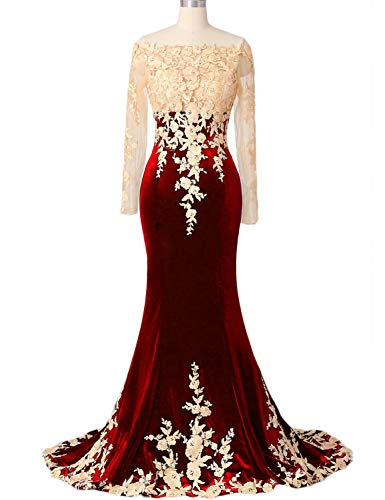 Appliqued Chapel Train - OYILAN Women's Gold Lace Appliqued Long Sleeve Velvet Prom Dress with Chapel Train Red 4