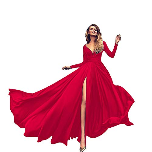 (Ladies Solid Color Gowns High Waist V-Neck Long Section Sexy Long Sleeve Split Ends Dress MEEYA Red )