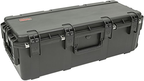 SKB Cases 3i-3613-12BL iSeries 3613-12 Waterproof Utility Case with Layered Foam, Four wide set in-line skate style wheels and tow handle for easy transport, Molded-in hinge for added protection by SKB Cases