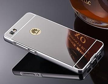 FASHION CASES Estuyoya - Funda Espejo Compatible con Huawei P8 Lite Carcasa Trasera [Marco de Aluminio] Bumper Lámina Trasera PC Efecto Espejo [Ultra ...