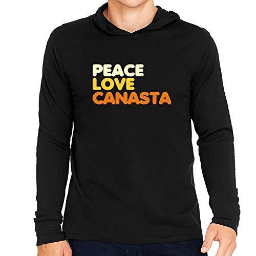 Idakoos Peace Love Canasta Hooded Long Sleeve T-Shirt L -