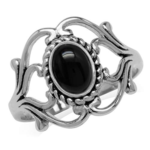Genuine Black Onyx 925 Sterling Silver Victorian Style Rope Ring Size 6 ()