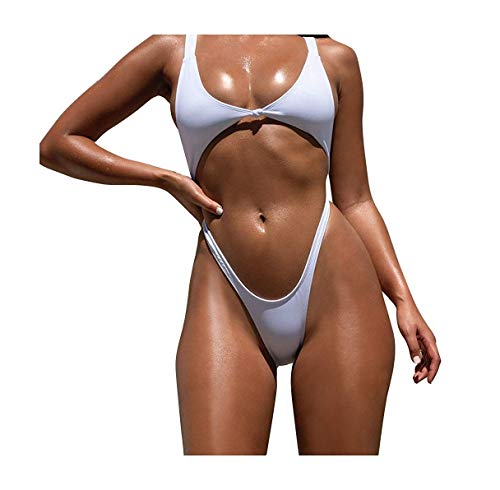 693c9f845070 Go-First Womens Swimwear Sexy Tie Knot Front Bathing Suit Cutout High Cut  Thong One