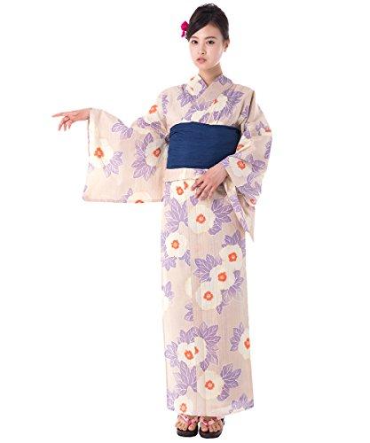 KYOETSU Women's Elegance Yukata 2 Piece Set (Yukata/Obi) (XX-Small (Japan Size S), FM-10(Obi Navy)) by KYOETSU