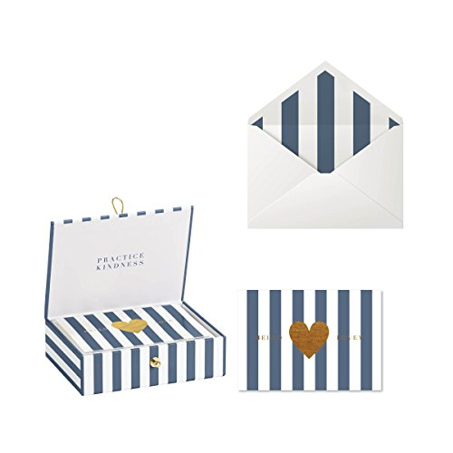 (C.R. Gibson White and Blue Greeting Card Set with Gift Box, 20pc, 5'' W x 3.5'' H)