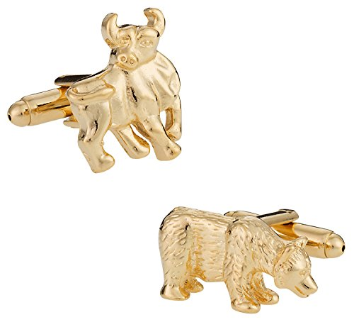 Cuff-Daddy Finance Gold Bull and Bear Stock Broker Cufflinks with Presentation Box
