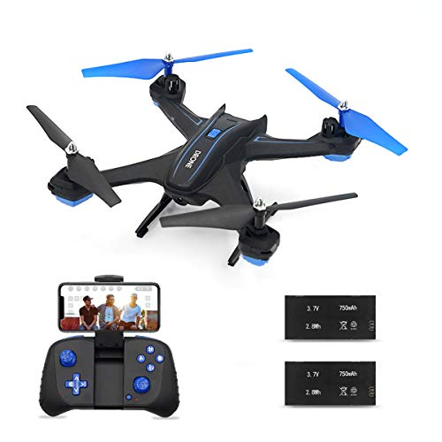 Drone Quadcopter with WiFi 720P HD Camera, BOJIANG RC Drone Helicopter with Voice/App Control Altitude Hold Headless Mode 3D Flip One Key Take Off/Landing