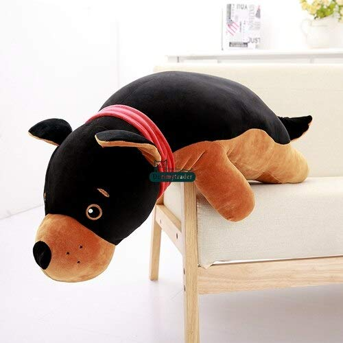 Stuffed Plush Animals | Big Simulated Dog Toys | Soft Stuffed Giant Black Puppy Doll | Wolf Dog Pillow (90cm | 35inches)