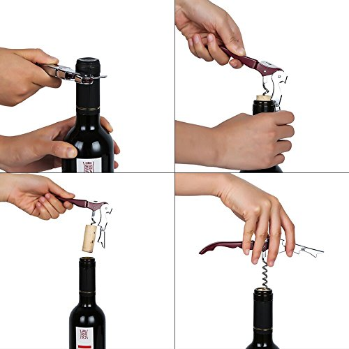 Bottle Opener Beer Opener Stainless Steel Wine Opener All-in-one Waiters Corkscrew with Gift Box, Foil Cutter,with a Wine Stopper by Sanlan (Image #1)